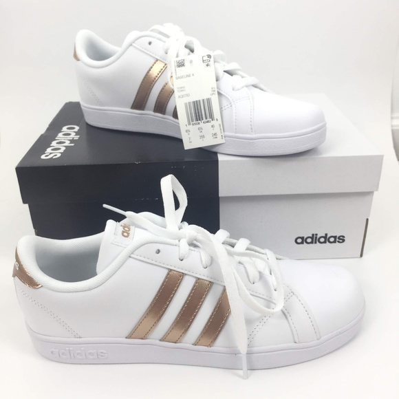 adidas Baseline K Lace Up Sneakers Rose Gold NWT